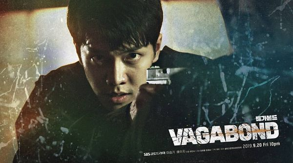 Tags: K-Drama, Lee Seung-gi, Weapons, Holding Weapon, Black Eyes, English Text, Text: Series Name, Gun, Poster, Vagabond, Scan