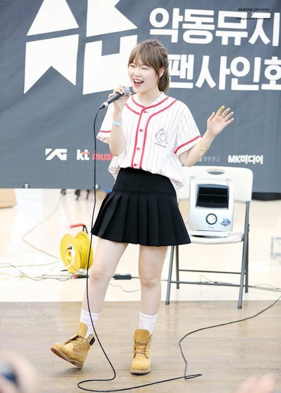 Tags: YG Entertainment, K-Pop, Akdong Musician, Lee Suhyun, Socks, Baseball, Baseball Jersey, Bracelet, Brown Footwear, Skirt, Boots, Black Skirt
