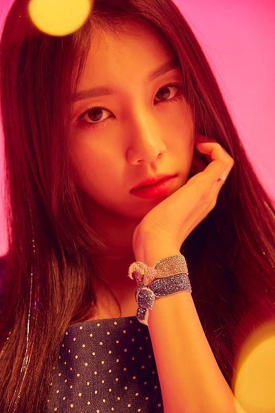 Tags: K-Pop, Uni.T, Lee Suji, Pink Background, Bracelet, Spotted, Red Lips, Spotted Shirt, Chin In Hand, Choker, Ring