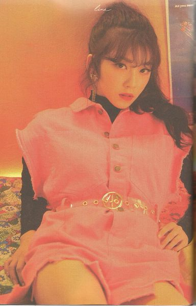 Tags: K-Pop, Uni.T, Lee Suji, Pink Outfit, Belt, Black Shirt, Pink Dress, Laying On Back, Laying Down, Serious, Wavy Hair