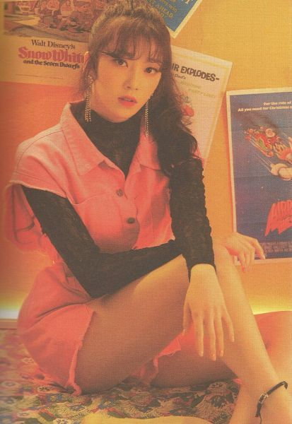 Tags: K-Pop, Uni.T, Lee Suji, Earrings, Sitting On Ground, Bent Knees, Pink Dress, Sitting, Pink Outfit, Wavy Hair, Anklet, Black Shirt
