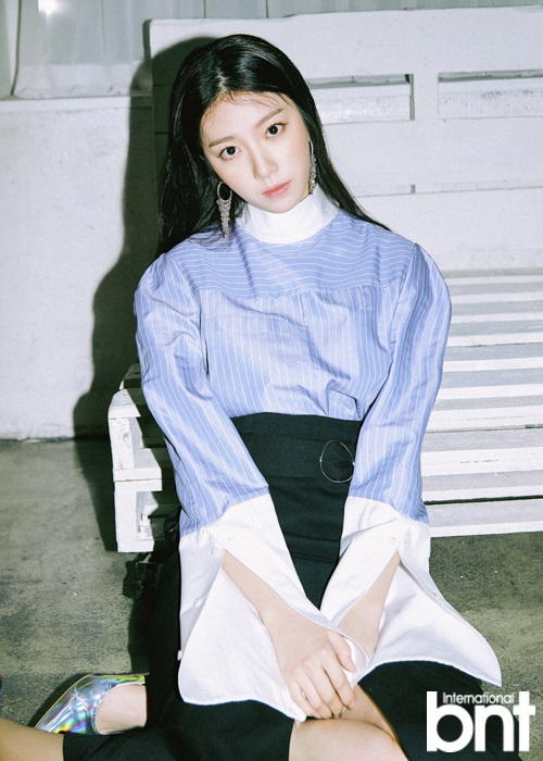 Tags: K-Pop, Uni.T, Lee Suji, Make Up, Black Skirt, Sitting On Ground, Blush (Make Up), High Heels, Black Eyes, Skirt, Blue Shirt, International Bnt