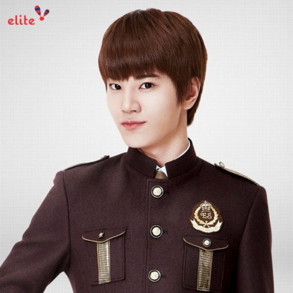 Tags: K-Pop, Infinite, Lee Sung-jong, Text: Brand Name, Black Jacket, School Uniform, Tie, Gray Background, Elite