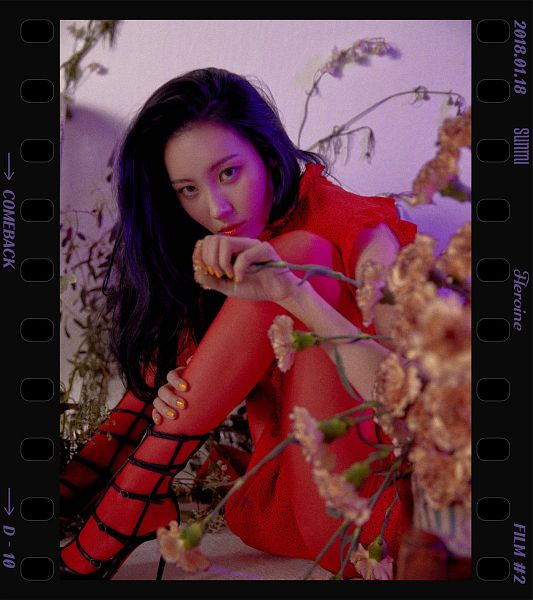 Tags: MAKEUS Entertainment, K-Pop, Heroine, Lee Sunmi, Text: Calendar Date, Text: Song Title, Text: Artist Name, High Heels, Red Outfit, Flower, English Text