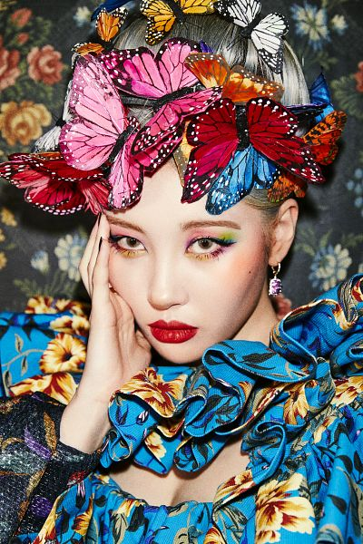 Tags: K-Pop, LALALAY, Lee Sunmi, Eyeshadow, Suggestive, Animal, Cleavage, Butterfly, Red Lips, Hair Up, Make Up, Hand On Cheek