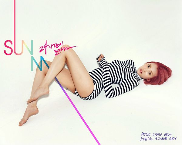 Tags: K-Pop, Wonder Girls, 24 Hours, Lee Sunmi, White Background, Laying On Back, Barefoot, Text: Artist Name, Pink Hair, Laying Down, Bare Legs, Text: Song Title