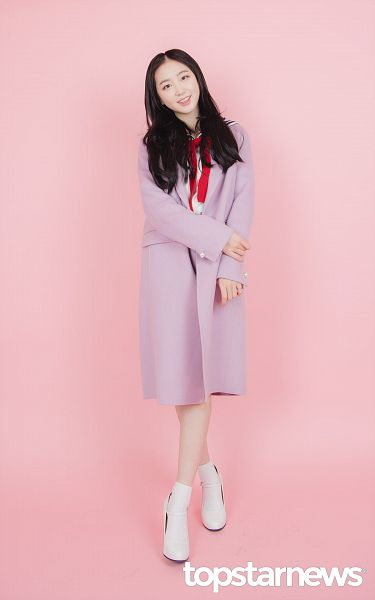 Tags: K-Pop, Elris, Lee Yukyung, Text, Purple Outerwear, Coat, Sailor Collar, English Text, Socks, White Footwear, Simple Background, Bow Tie
