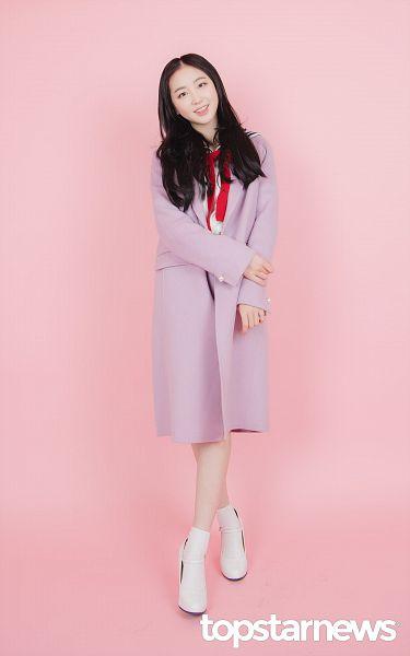 Tags: Hunus Entertainment, K-Pop, Elris, Lee Yukyung, Coat, Purple Outerwear, Socks, Sailor Collar, English Text, Bow Tie, White Footwear, Full Body