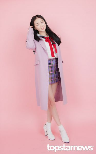 Tags: Hunus Entertainment, K-Pop, Elris, Lee Yukyung, Coat, Checkered Skirt, Purple Skirt, Socks, White Footwear, Hand In Hair, Purple Outerwear, Bow Tie
