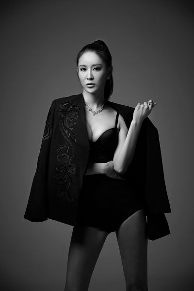 Tags: K-Pop, Nine Muses, Leesem, Gray Background, Black Outfit, Monochrome, Serious, Suggestive, Android/iPhone Wallpaper