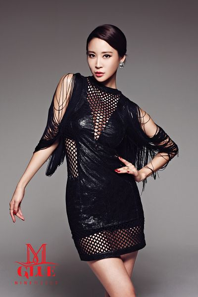 Tags: K-Pop, Nine Muses, Leesem, Black Outfit, Text: Song Title, Text: Artist Name, Suggestive, Gray Background, Android/iPhone Wallpaper