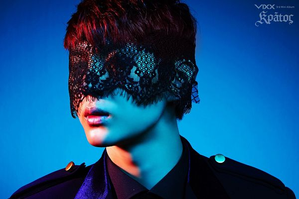 Tags: K-Pop, VIXX, Leo, Blindfold, Blue Background, Eyes Closed, Covering Eyes, Lace, Text: Artist Name, Close Up, Text: Album Name, Wallpaper
