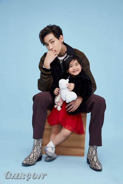 Tags: K-Pop, Got7, BamBam, Chujai, Necklace, Brown Pants, Red Dress, Graffiti, Bracelet, Blue Background, Boots, Child