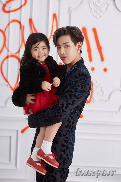 Tags: K-Pop, Got7, Chujai, BamBam, Carry, Red Outfit, Child, Duo, Serious, Red Dress, Graffiti, Magazine Scan