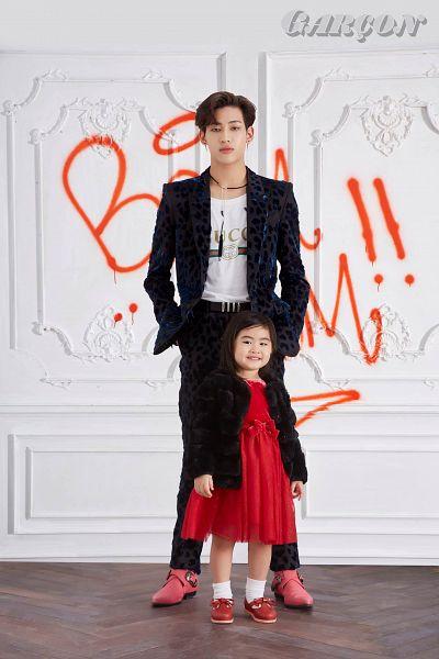Tags: K-Pop, Got7, BamBam, Chujai, Serious, Black Pants, Graffiti, Hand In Pocket, Red Outfit, Belt, Child, Red Dress