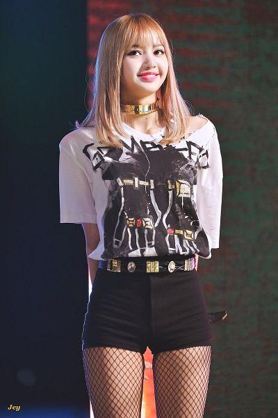 Tags: YG Entertainment, K-Pop, Black Pink, Lisa, Looking Ahead, Shorts, Short Sleeves, Multi-colored Shirt, Belt, Choker, Bracelet, Fishnets