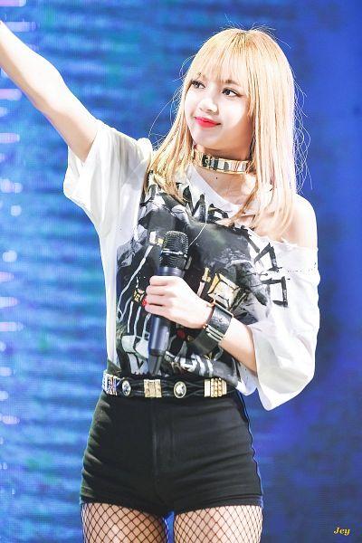 Tags: YG Entertainment, K-Pop, Black Pink, Lisa, Shorts, Choker, Multi-colored Shirt, Belt, Fishnets, Bracelet, Black Shorts, Holding Object