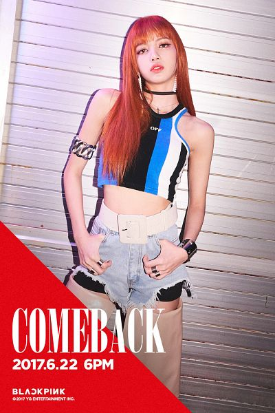 Tags: YG Entertainment, K-Pop, Black Pink, As If It's Your Last, Lisa, Striped Shirt, Text: Calendar Date, Ring, Choker, Red Hair, Midriff, Denim Shorts