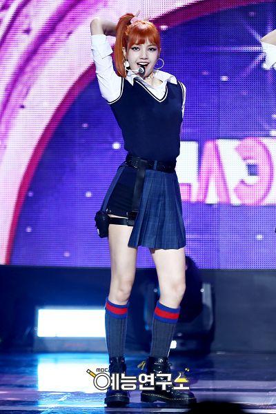 Tags: YG Entertainment, K-Pop, Black Pink, Lisa, Shorts, Collar (Clothes), Blunt Bangs, Singing, Red Hair, Arms Up, Sleeveless Shirt, Ponytail