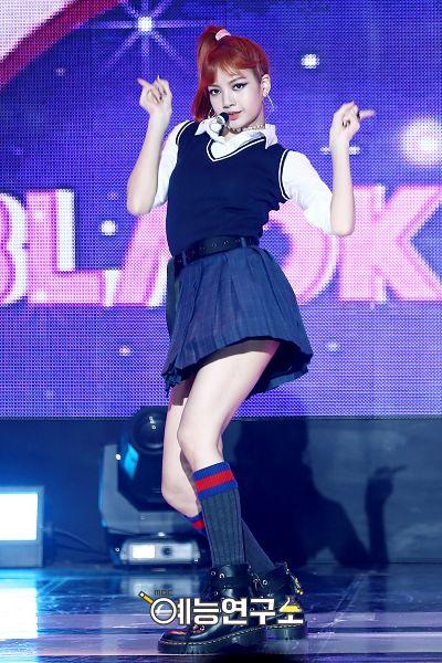 Tags: YG Entertainment, K-Pop, Black Pink, Lisa, Red Hair, Arms Up, Ponytail, Black Footwear, Skirt, Sleeveless Shirt, Sleeveless, Black Shorts