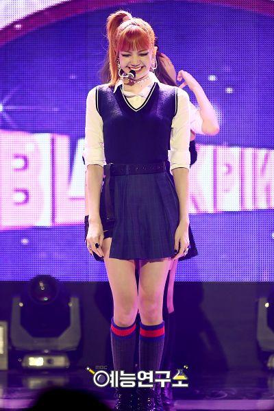 Tags: YG Entertainment, K-Pop, Black Pink, Lisa, Boots, Hair Up, Choker, Socks, Looking Down, Blunt Bangs, Shorts, Collar (Clothes)