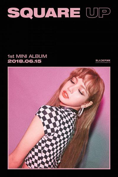 Tags: K-Pop, Black Pink, Lisa, Short Sleeves, Text: Artist Name, Text: Company Name, Text: Album Name, English Text, Checkered, Checkered Shirt, Multi-colored Shirt, Blunt Bangs