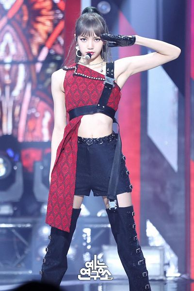 Tags: K-Pop, Black Pink, Lisa, Hair Up, Gloves, Red Shirt, Ponytail, One Arm Up, Belt, Bare Shoulders, Midriff, Necklace