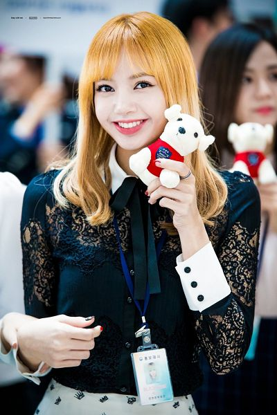 Tags: K-Pop, Black Pink, Kim Jisoo, Lisa, Skirt, Stuffed Animal, Nail Polish, Holding Object, White Skirt, Red Hair, Collar (Clothes), Lace