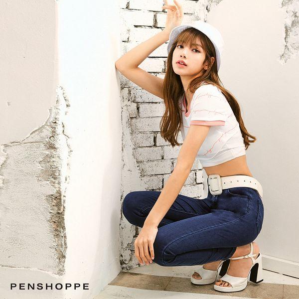 Tags: K-Pop, Black Pink, Lisa, High Heels, White Footwear, White Background, Brick Background, Hat, Crouching, Shoes, Belt, Midriff