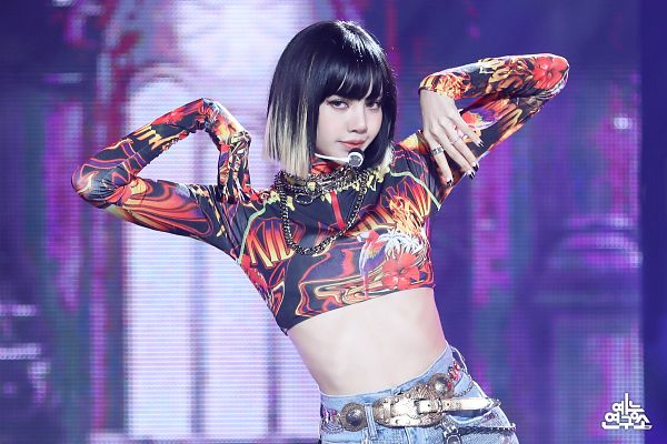 Tags: K-Pop, Black Pink, Lisa, Midriff, Belt, Nail Polish, Multi-colored Hair, Purple Background, Ring, Make Up, Medium Hair, Shorts