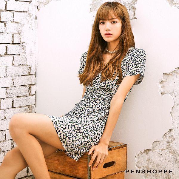 Tags: K-Pop, Black Pink, Lisa, Necklace, Light Background, Bare Legs, White Background, Black Dress, Brick Background, White Outfit, White Dress, Black Outfit
