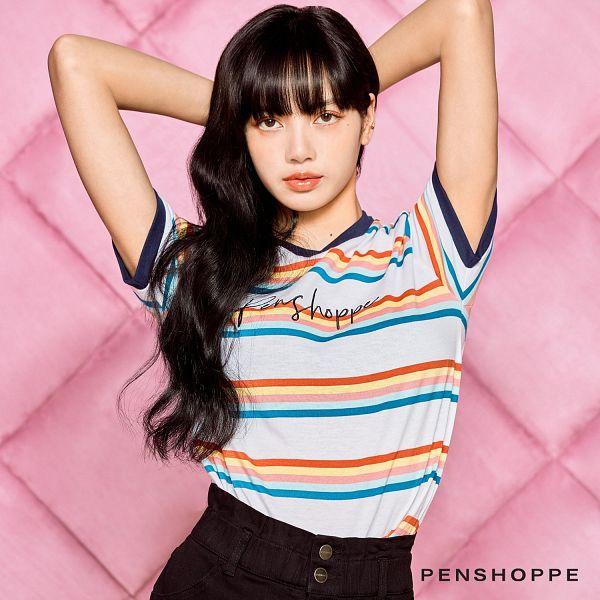 Tags: K-Pop, Black Pink, Lisa, Text: Company Name, Black Shorts, Striped Shirt, Checkered, Pink Background, Shorts, Checkered Background, Looking Up, Text: Brand Name