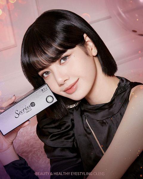 Tags: K-Pop, Black Pink, Lisa, Gray Eyes, Black Outfit, Text: Brand Name, English Text, Pink Background, Black Dress, Make Up, Medium Hair