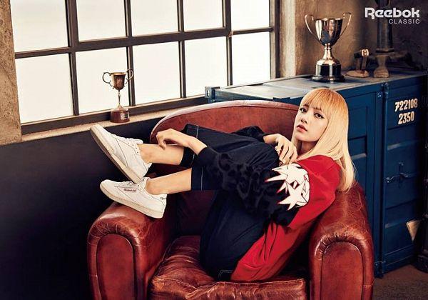 Tags: K-Pop, Black Pink, Lisa, Bent Knees, Armchair, Sitting, Sitting On Chair, Chair, Reebok