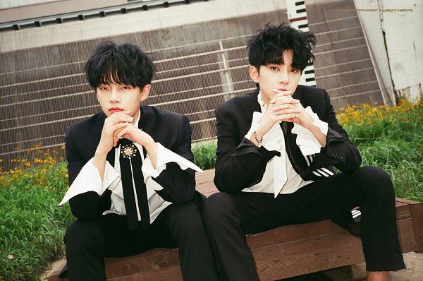 Tags: Choon Entertainment, K-Pop, Longguo & Shihyun, The The The, Jin Longguo, Kim Shihyun, Blunt Bangs, Sitting On Bench, Duo, Suit, Black Outerwear, Bracelet