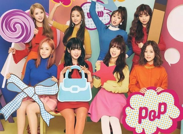 Tags: K-Pop, Lovelyz, Blue Shirt, Sitting On Bench, Wavy Hair, Red Outfit, Bow, Red Hair, Yellow Shirt, Purse, Lollipop, Bench