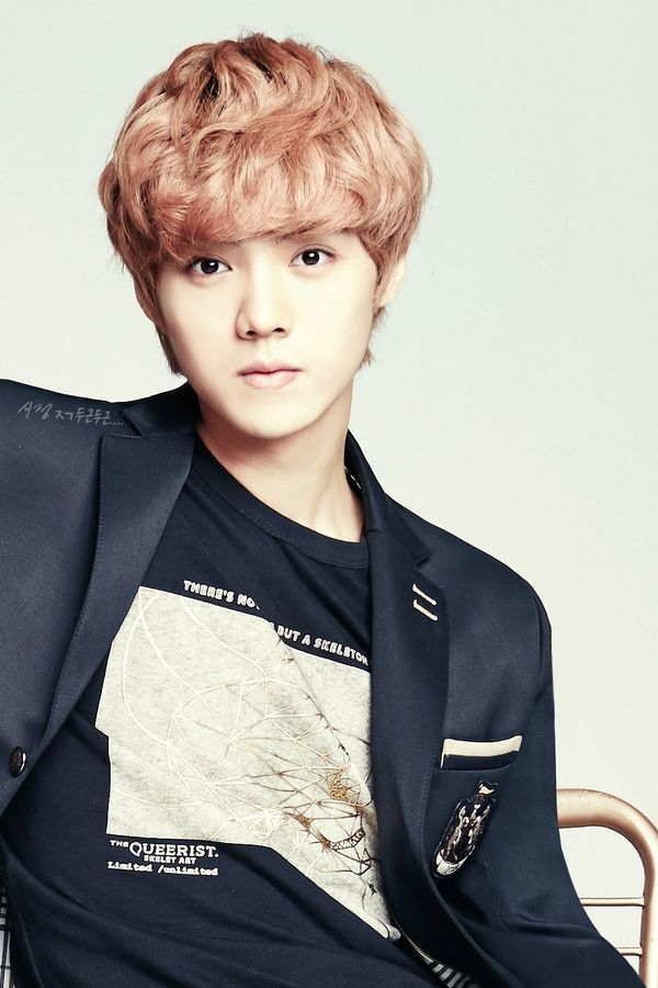 Tags: K-Pop, EXO, Luhan, Black Jacket, Sitting On Chair, Light Background, Chair, White Background, Korean Text