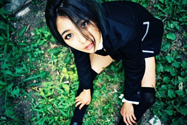 Tags: SM Town, K-Pop, f(x), Luna, Thigh Highs, Looking Up, Sitting On Ground, Black Footwear, Black Outfit, Bare Legs, Hand On Leg, Black Jacket