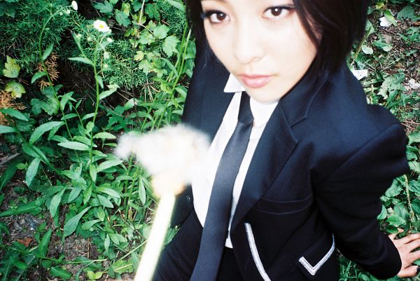 Tags: SM Town, K-Pop, f(x), Luna, Looking Up, Tie, Make Up, Sitting On Ground, Black Shorts, Black Jacket, From Above, Shorts