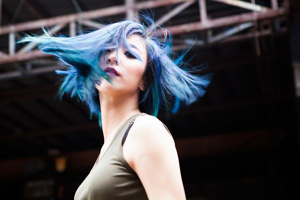 Tags: SM Town, K-Pop, f(x), Luna, Looking Down, Blue Hair, Sleeveless, Black Background, Sleeveless Shirt, Dark Background, Make Up, Bare Shoulders