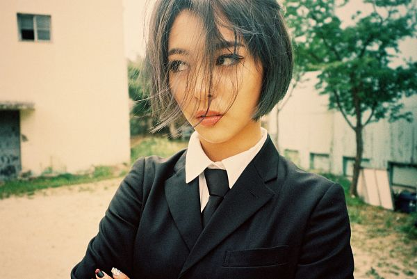 Tags: SM Town, K-Pop, f(x), Luna, Black Neckwear, Make Up, Crossed Arms, Outdoors, Nail Polish, Looking Away, Tie, Red Light