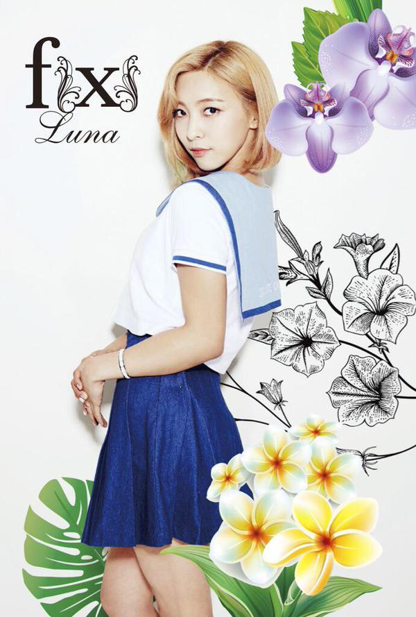 Tags: K-Pop, f(x), Hot Summer, Luna, Light Background, White Background, Purple Flower, Skirt, Blue Skirt, Flower, Sailor Collar, Text: Artist Name
