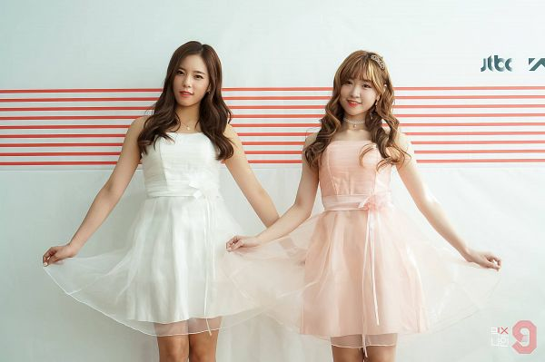 Tags: YG Entertainment, Television Show, Yoo Jin-kyung, Im Jung-min, Two Girls, Sleeveless, Duo, Text: Series Name, Wave, Sleeveless Dress, White Outfit, Pink Dress