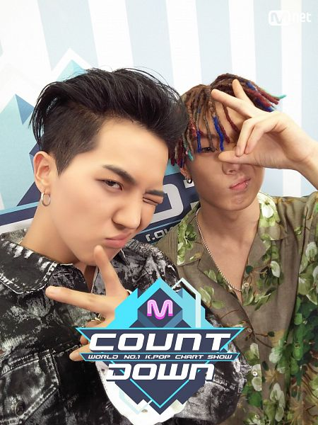 Tags: YG Entertainment, Television Show, K-Pop, Winner, iKON, MOBB, Song Minho, Bobby, Denim Jacket, Multi-colored Hair, Covering Eyes, Pouting