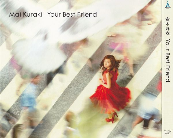 Tags: J-Pop, Your Best Friend, Mai Kuraki, Red Dress, Bare Shoulders, Bird, Full Body, From Above, Red Outfit, Sleeveless, Sleeveless Dress, Looking Up