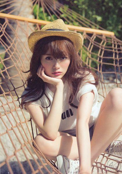 Tags: J-Pop, Nogizaka46, Mai Shiraishi, Close Up, Beach, Hat, Android/iPhone Wallpaper, Scan