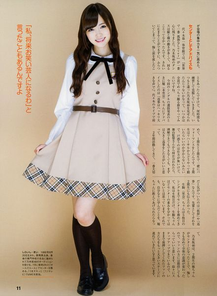 Tags: J-Pop, Nogizaka46, Mai Shiraishi, Wavy Hair, Brown Dress, Pleated Skirt, Belt, Black Bow, Knee Socks, Black Legwear, Holding Skirt, Skirt