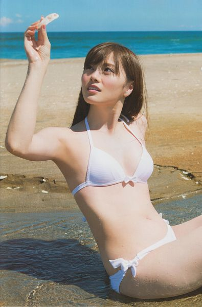 Tags: J-Pop, Nogizaka46, Mai Shiraishi, Outdoors, Sitting, Water, Suggestive, Looking Away, Sand, Cleavage, Sitting On Ground, Sea