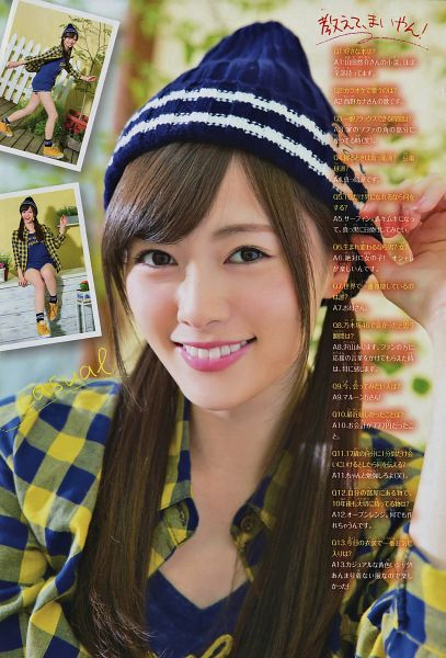 Tags: J-Pop, Nogizaka46, Mai Shiraishi, Laughing, Twin Tails, Blue Shirt, Checkered Shirt, Full Body, Hand On Hat, Sitting On Table, Hat, Sneakers