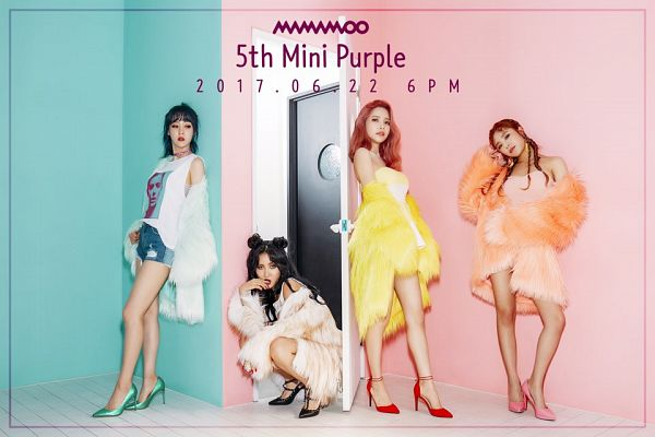 Tags: K-Pop, Mamamoo, Moonbyul, Solar, Hwasa, Wheein, Text: Album Name, Fur, High Heels, Full Group, Fur Trim, Text: Calendar Date